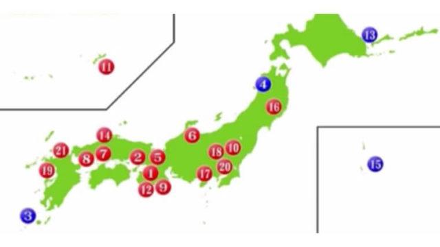 日本の世界遺産の地図