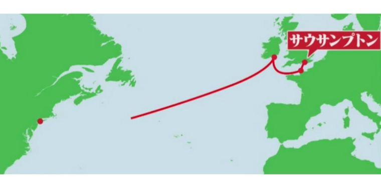 タイタニックの航路