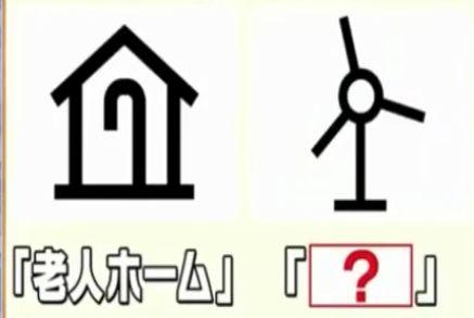 老人ホームと風車の地図記号