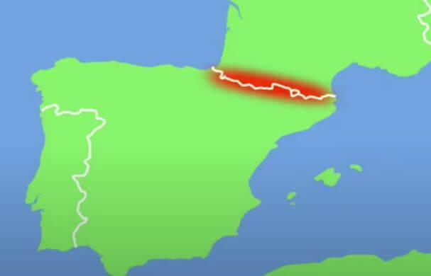 ピレネー山脈の地図
