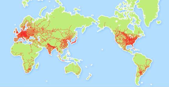 鉄道線路の世界地図